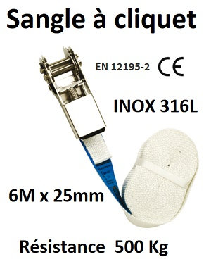 SANGLE A CLIQUET INOX 316L 6M