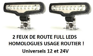 PAIRE DE FEUX DE ROUTE FULL LEDS  SURPUISSANTS HOMOLOGUES !
