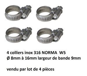 Lot de 4 colliers inox 316