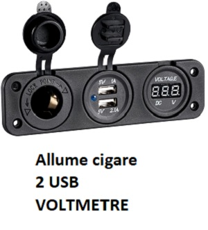 SOCLE DOUBLE : ALLUME CIGARE + 2 PRISES USB