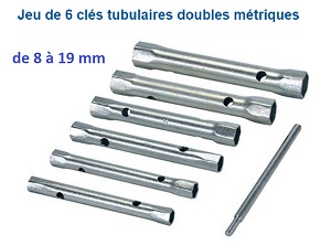 6 CLES TUBES VERSIONS LONGUES de 8 à 19 MM