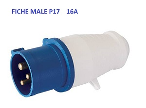 PRISE MALE 16A TYPE P17 CEE